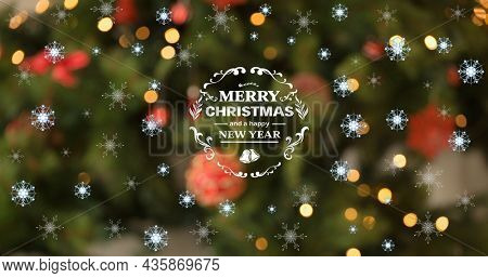 Image of merry christmas text over christmas tree. christmas, winter, tradition and celebration concept digitally generated image.