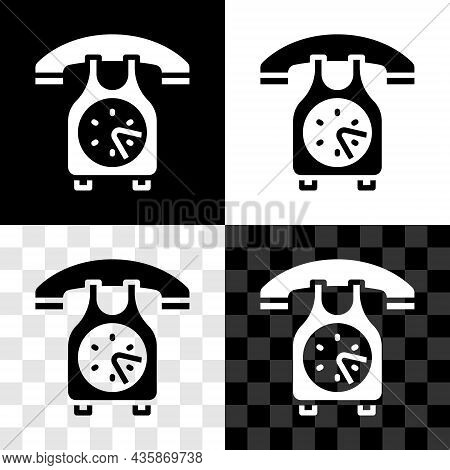 Set Telephone Handset Icon Isolated On Black And White, Transparent Background. Phone Sign. Vector