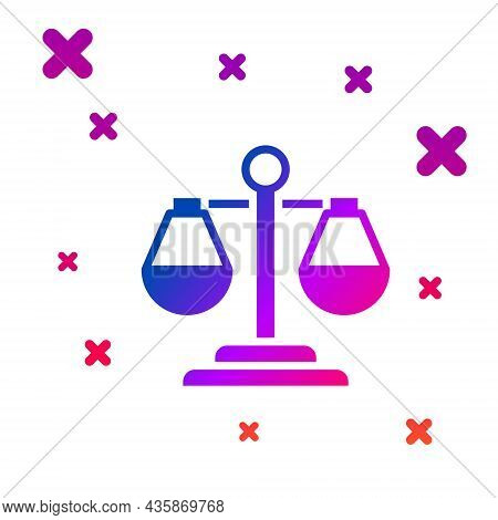 Color Scales Of Justice Icon Isolated On White Background. Court Of Law Symbol. Balance Scale Sign.