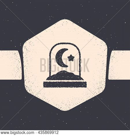 Grunge Muslim Cemetery Icon Isolated On Grey Background. Islamic Gravestone. Monochrome Vintage Draw