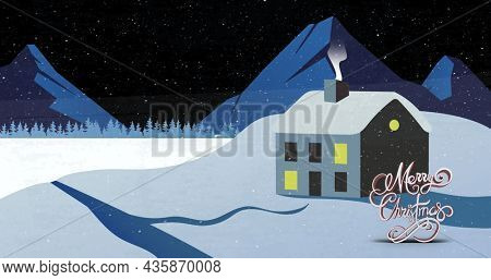 Image of merry christmas text over winter scenery with decorated house. christmas, winter, tradition and celebration concept digitally generated image.