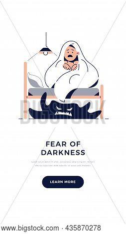 Fear Of Darkness, Kids Nightmares Banner. Scared Boy Imagining Monster Under The Bed. Child Hides Un