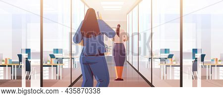 Businesswomen Couple Standing Back To Camera Rear View Of Business People In Office Corridor Cartoon