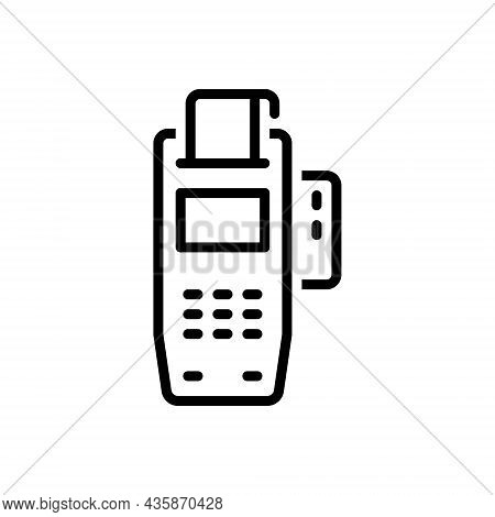 Black Line Icon For Acquire Receive Get Obtain Payment Achieve Contactless Card Electronic