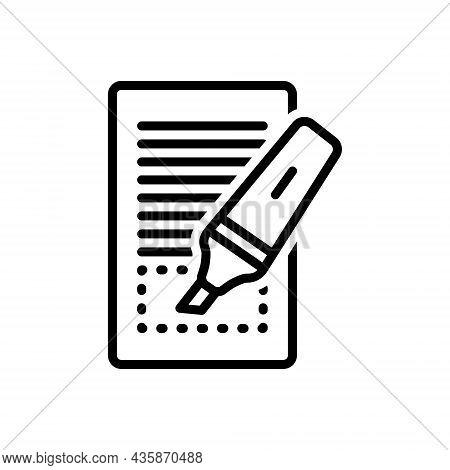 Black Line Icon For Highlighted Displayed Marker Blogger Highlight Ink Underline Underscore
