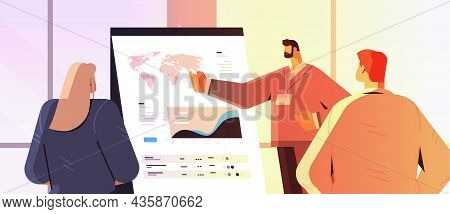 Businessman Presenting Report For Businesspeople At Conference Meeting Business Presentation Concept
