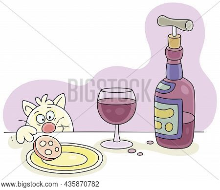 Funny Artful Cat Trying To Steal A Sausage From A Festive Table With A Bottle And A Glass Of Wine Wh