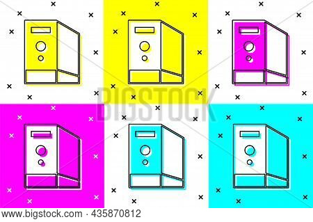 Set Case Of Computer Icon Isolated On Color Background. Computer Server. Workstation. Vector