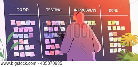 Businesswoman Scheduling His Work Agenda Weekly Meeting Schedule Task Board With Sticky Notes Busine