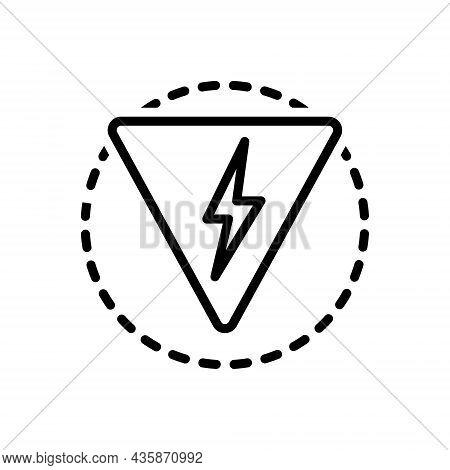 Black Line Icon For Danger Peril Hazard Risk Jeopardy Thunder Lighting Flash Power
