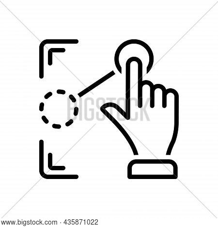 Black Line Icon For Drag Pull Draw Move Pointer Cursor Extend