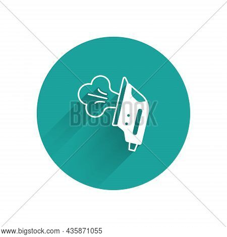 White Electric Iron Icon Isolated With Long Shadow Background. Steam Iron. Green Circle Button. Vect