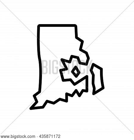 Black Line Icon For Rhode Continent Country Island Map Greece Cartography Destination