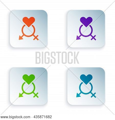 Color Gender Icon Isolated On White Background. Symbols Of Men And Women. Sex Symbol. Set Colorful I