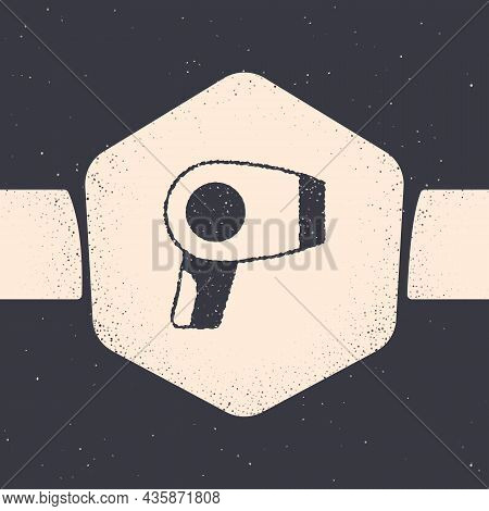 Grunge Hair Dryer Icon Isolated On Grey Background. Hairdryer Sign. Hair Drying Symbol. Blowing Hot