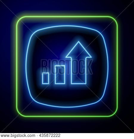 Glowing Neon Financial Growth Increase Icon Isolated On Blue Background. Increasing Revenue. Vector