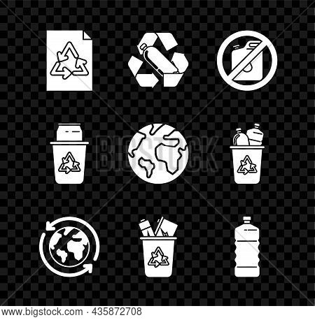 Set Paper With Recycle, Recycling Plastic Bottle, No Canister For Gasoline, Planet Earth And Recycli