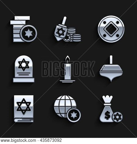Set Burning Candle In Candlestick, World Globe Israel, Jewish Money Bag With Star Of David Coin, Han