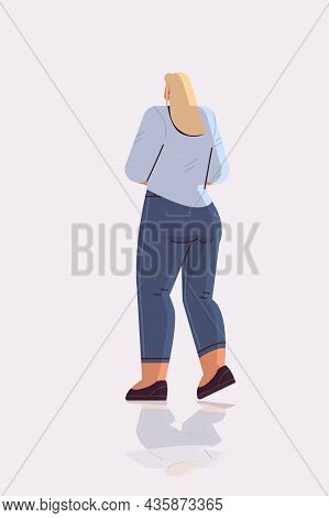 Businesswoman Standing Back To Camera Rear View Of Elegant Business Woman Posing Female Cartoon Char