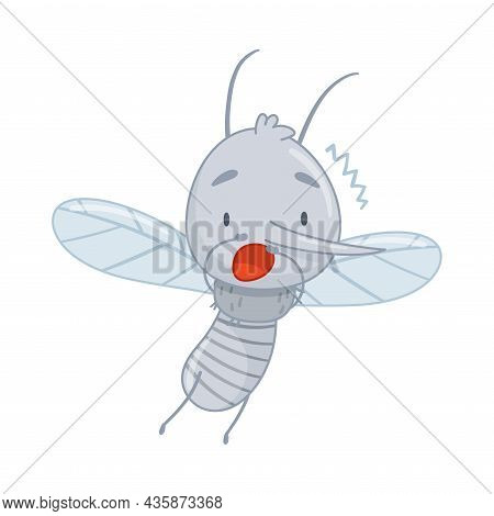 Cute Frightened Quivering Mosquito. Adorable Parasitic Insect Funny Character Cartoon Vector Illustr