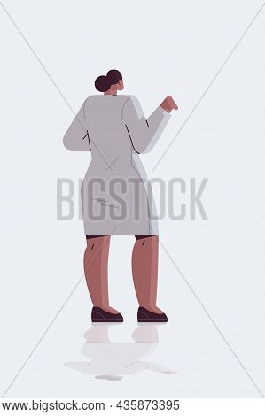 Businesswoman Standing Back To Camera Rear View Of African American Business Woman Posing