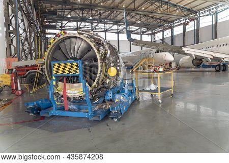 Big Aircraft Turbine In Hangar During Overhaul