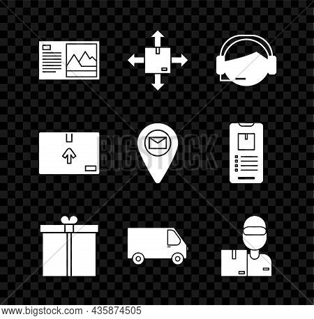 Set Postcard, Cardboard Box With Traffic Symbol, Support Operator In Touch, Gift, Delivery Cargo Tru