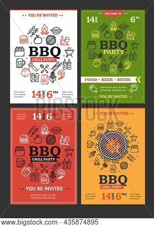 Bbq Grill Party Invitation Flyer Brochure Template Set With Thin Line Icon. Vector Illustration Of B