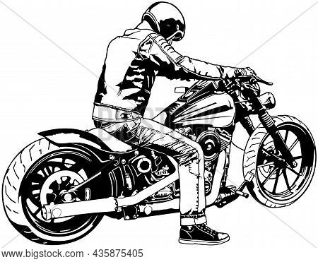 Strong Motorcycle With Rider - Black Detailed Illustration Isolated On White Background, Vector