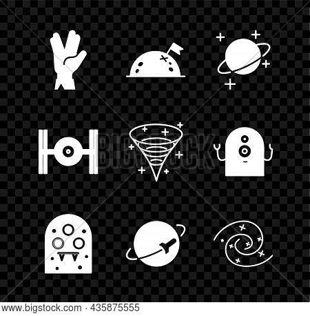 Set Vulcan Salute, Planet With Flag, Alien, Black Hole, Cosmic Ship And Icon. Vector