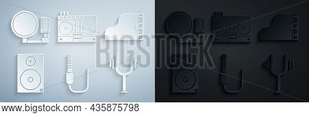 Set Audio Jack, Grand Piano, Stereo Speaker, Musical Tuning Fork, Dj Remote Playing Mixing Music And