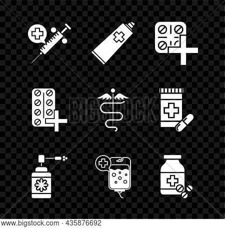 Set Medical Syringe With Needle, Ointment Cream Tube Medicine, Pills Blister Pack, Bottle Nozzle Spr