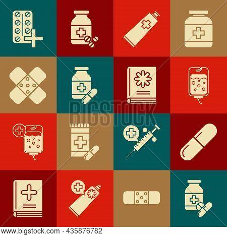 Set Medicine Bottle And Pills, Or Tablet, Iv Bag, Ointment Cream Tube Medicine, Crossed Bandage Plas
