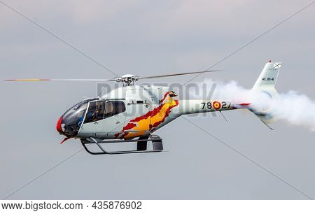 Eurocopter Ec120 Colibri Helicopter Of The Spanish Air Force Team Patrulla Aspa Performing At The Du