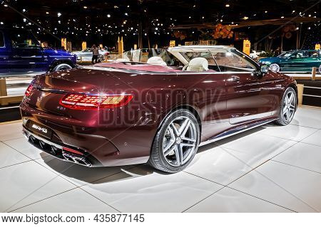 Mercedes-amg S63 Cabriolet Sports Car Showcased At The Autosalon 2020 Motor Show. Brussels, Belgium