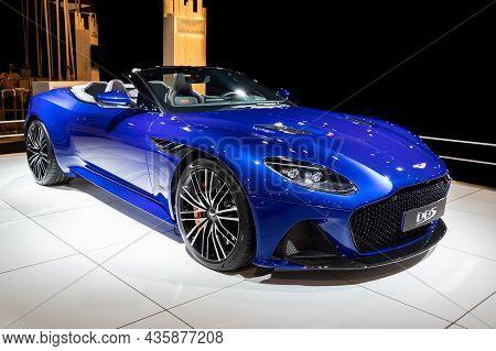Aston Martin Dbs Superleggera Volante Cabriolet Sports Car At The Autosalon 2020 Motor Show. Brussel