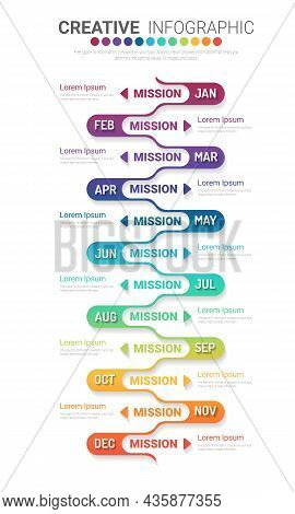 Timeline Business For 12 Months, Infographics Element Design And Presentation Can Be Used For Busine