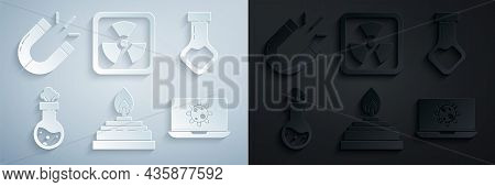Set Alcohol Or Spirit Burner, Test Tube And Flask Chemical, Bacteria On Laptop, Radioactive And Magn