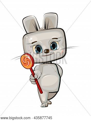 Cute Kid Hare Stretches Out His Hand Offering A Treat. He Wants To Present A Sweetness Lollipop. Fun