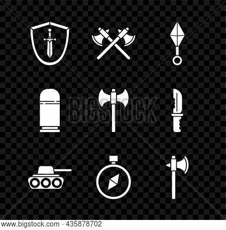 Set Medieval Shield With Sword, Crossed Medieval Axes, Japanese Ninja Shuriken, Military Tank, Compa