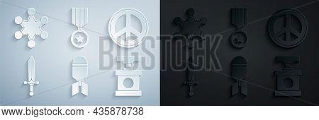Set Aviation Bomb, Peace, Medieval Sword, Handle Detonator For Dynamite, Military Reward Medal And P