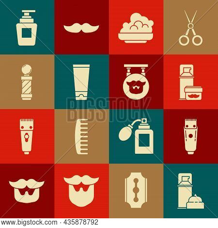 Set Shaving Gel Foam, Electrical Hair Clipper Or Shaver, Cream Lotion Cosmetic Tube, Classic Barber