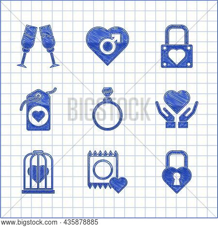 Set Diamond Engagement Ring, Condom Package, Castle The Shape Of Heart, Heart Hand, Bird Cage, Tag,