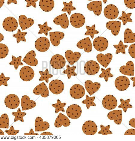 Seamless Pattern With Delicious Chocolate Chip Cookies. Pastry Bakery. Vector Illustration On White