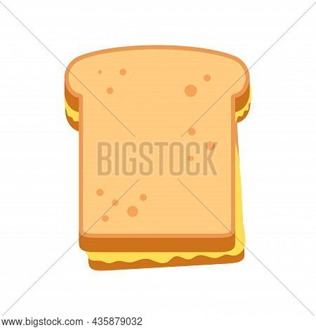 Toast Bread Icon. Grilled Cheese Sandwich With Melted Cheese. Vector Illustration Isolated On White
