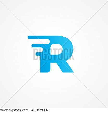 Initial Alphabet Logo Design Template. Vector Illustration Of Letter R Streaking With Fluid Effect.