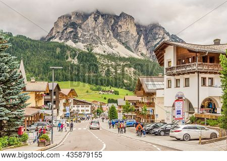 Corvara,italy - July 15,2021 - In The Streets Of Corvara Town. Corvara Is A Comune In South Tyrol In