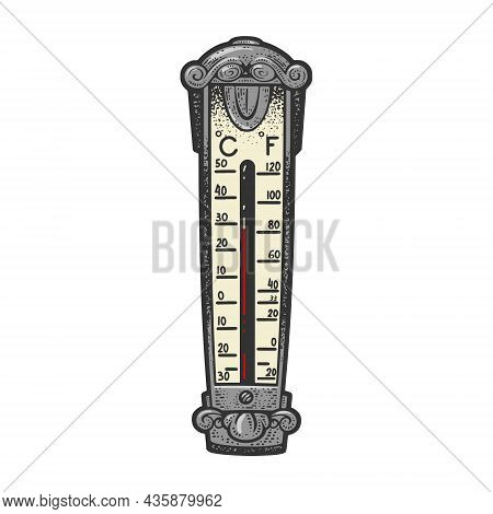 Outdoor Thermometer Shows High Temperature Global Warming Color Sketch Engraving Vector Illustration