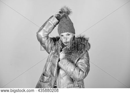 Fashion Coat And Hat. Faux Fur. Warming Up. Casual Winter Jacket Slightly More Stylish And Have More