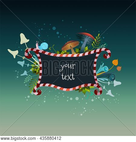 Beautiful Alice In Wonderland Vector Striped Frame With A Snail, Plants, Leaves And Mushrooms On A D